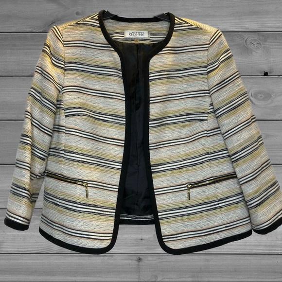 Kasper Women's Cotton Blend Lined Open Blazer